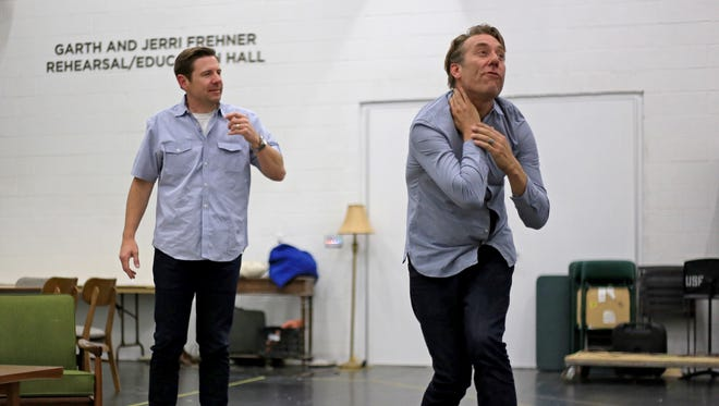 """Utahs Shakespeare Festival artistic directors Brian Vaughn and David Ivers rehearse for """"The Odd Couple"""" on Tuesday at the festival's new Frehner Rehearsal/Education Hall in Cedar City."""