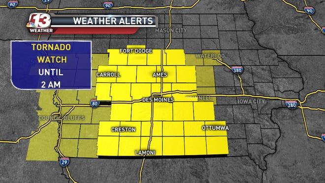 Iowa counties under a Tornado Watch