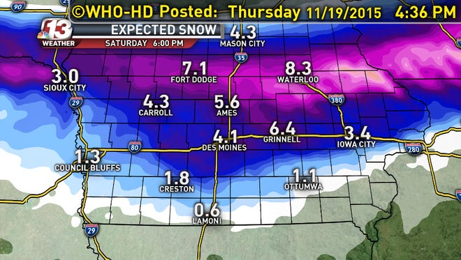 """The expected snowfall totals for Friday afternoon into early Saturday. Expect 6-8"""" along Hwy 30 to Hwy 20."""