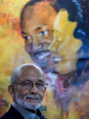 Longtime Dexter Avenue King Memorial Baptist Church member John Feagin at the church in Montgomery, Ala., on Wednesday February 1, 2017. Feagin painted the mural in the basement of the church.