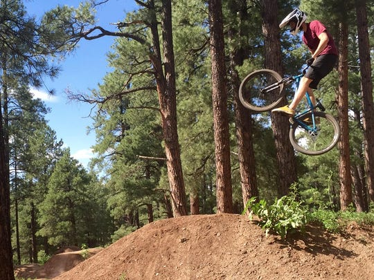 Phil Kanish, of Flagstaff, catches some air at Fort