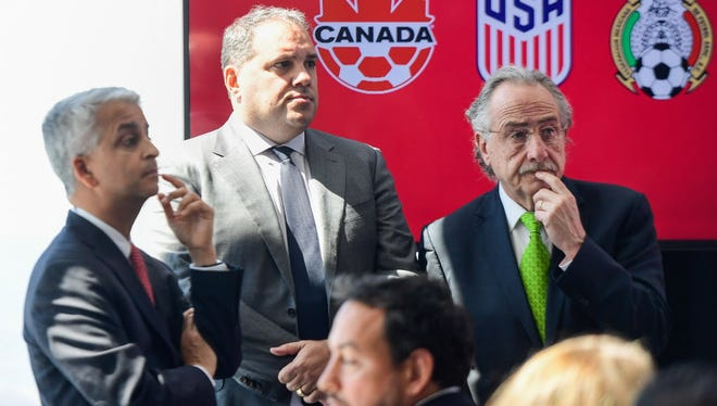 The U.S., Canada and Mexico announced a joint bid in April to host the first World Cup that will feature 48 nations.