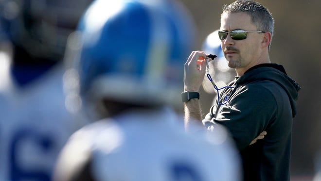 March 22, 2016 -  University of Memphis head coach Mike Norvell runs the team's first spring football practice of 2016. (Nikki Boertman/The Commercial Appeal)
