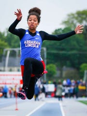 Council Bluffs Abraham Lincoln's Darby Thomas competes in the 4A girls' long jump Friday, May 19, 2017, during the 2017 State High School Track and Field Championships at Drake Stadium in Des Moines, Iowa.