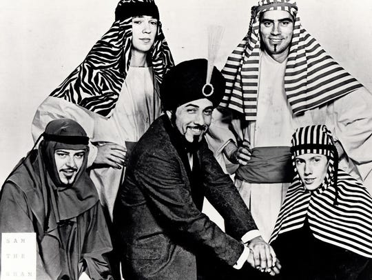Five cool cats: Sam the Sham and the Pharaohs, during