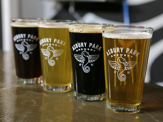 Schwarzbier (from left), Blonde Lager, Roasted Stout and the XPA at Asbury Park Brewery.
