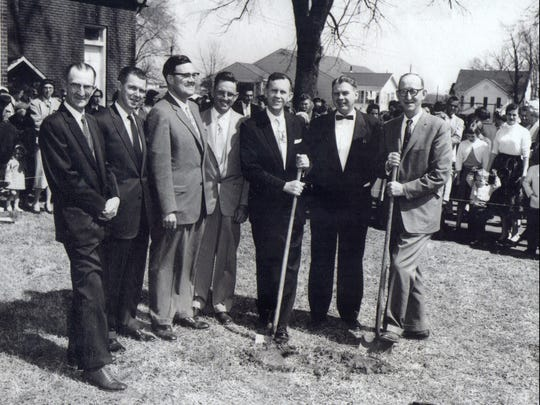 Malesus Baptist Church in Jackson held a ground breaking for an education building in 1958. From left: Bill Hudson, Oscar Barker, EB Oneal, Ed Ferguson, Jim Nunnery and Woodrow Barker. The identification of the man to the right is unknown.