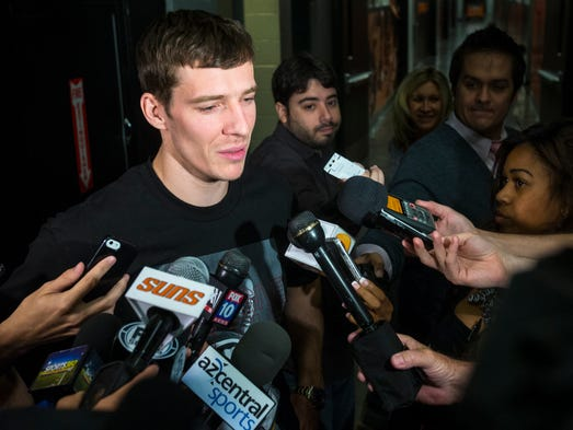 Suns' Goran Dragic talks with the media after he cleared out his locker at the end of the season on Thursday, April 17, 2014. The Suns missed the playoffs with a record of 48-34.