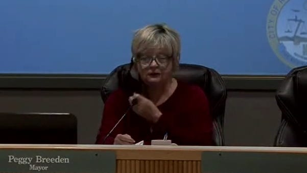 Mayor Peggy Breeden dramatically rips off her face mask during the July 1 city council meeting to make the point she does not enjoy wearing a mask any more than anyone else. Breeden however, urged the community to wear masks, practice social distancing and follow Gov. Gavin Newsom's latest directives as the quickest way to restore normalcy to the community.