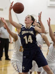 Gary C. Klein/USA TODAY NETWORK-WisconsinSheboygan Christian senior Hannah Modahl was named the Player of the Year on the inaugural all-Big East Conference teams. Sheboygan Christian's Hannah Modahl (14) rebounds the ball against Howards Grove Thursday February 11, 2016 at Howards.
