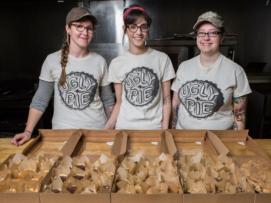 From left, the Ugly Pie co-owners, Heather Hall, of Salisbury, Bridget Perry, of Princess Anne and Shaina Bounds, of Salisbury pose for a photo at the Black Diamond Lodge in Fruitland on Wednesday, Jan. 25, 2017.