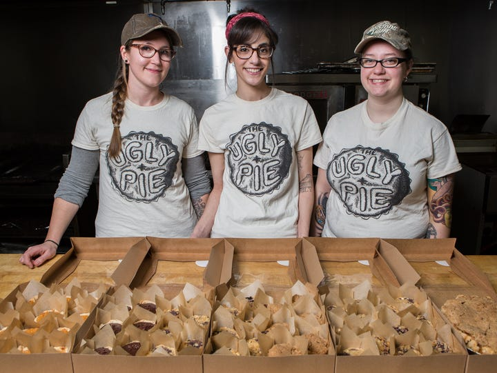 From left, the Ugly Pie co-owners, Heather Hall, of