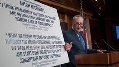 Senate Minority Leader Chuck Schumer, D-N.Y., holds