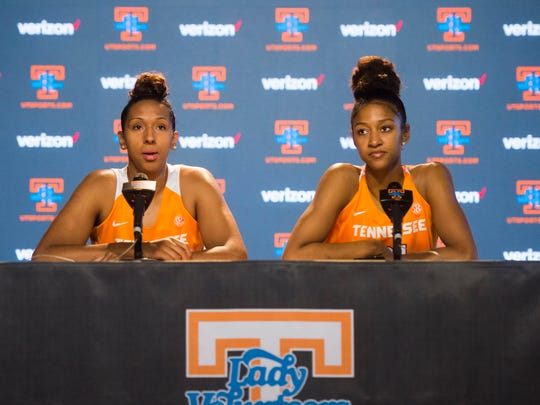 At right senior Jaime Nared speaks while next to senior  Mercedes Russell at Tennessee Lady Vols media day in Knoxville, Tenn. Thursday Oct. 26, 2017.