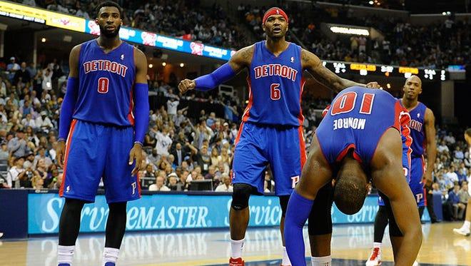 Pistons' Andre Drummond, Josh Smith and Greg Monroe.