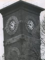 The courthouse clock in Monroe apparently hasn't decided whether to accept daylight-saving time. One of the four faces still records standard time. Green County voters rejected daylight-saving time by a 5-to-1 margin in the Apr. 2, 1957, referendum. This photo was taken in May 1957.