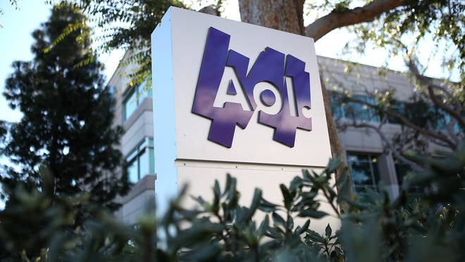 The AOL logo on a sign in front of the AOL offices in Palo Alto, Calif.