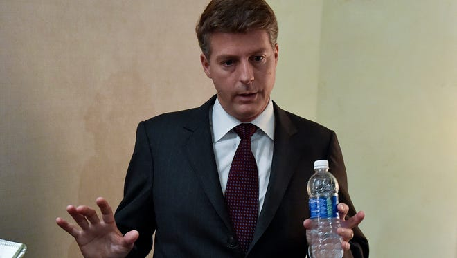 New York Yankees owner Hal Steinbrenner talks to the media at the baseball owners' meetings, Wednesday, Aug. 17, 2016, in Houston.