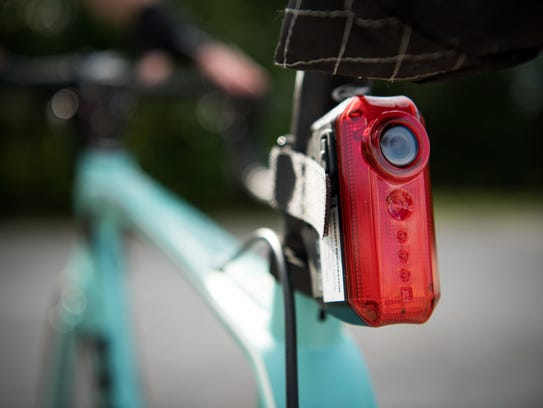 The rear facing camera installed on a bicycle owned