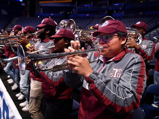 The Texas Southern band performs during practice at