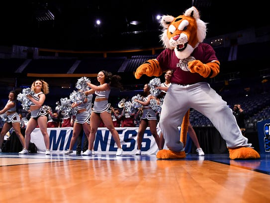 The Texas Southern mascot dances with cheerleaders