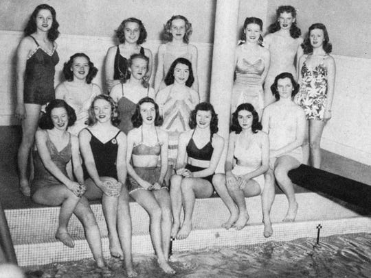 An undated photo shows students by the pool at Tech