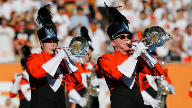 Oregon State band performs during an NCAA college football game in Corvallis, Ore., Saturday, Sept. 19, 2015.