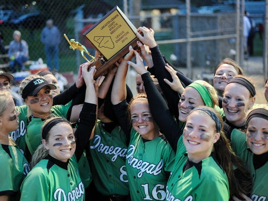 """The Donegal Indians hoist the 2015 LL League Championship trophy after a convincing 10-0 rout of the L-S Pioneers. Patrick Blain â """" For GameTimePA.com"""