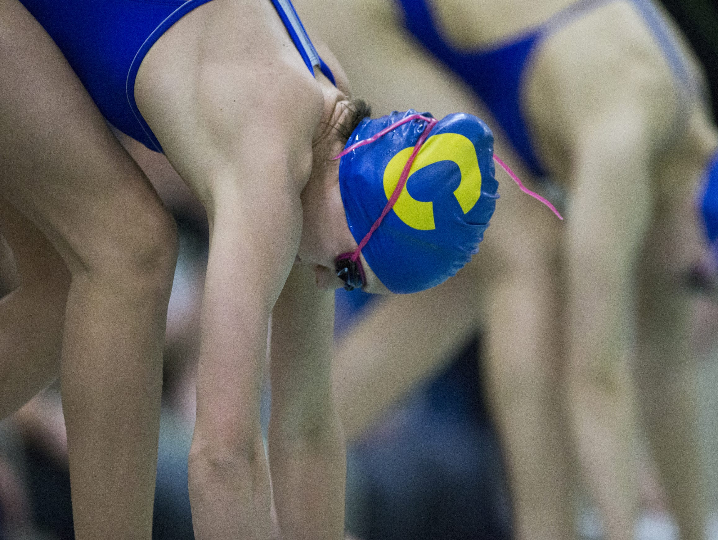 Kelly Pash of Carmel High School, the eventual winner of the 200 yard freestyle, at the starting blocks during the Noblesville sectional, Feb. 6, 2016.