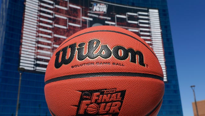 A view of the official Wilson game ball for the 2015 Final Four.