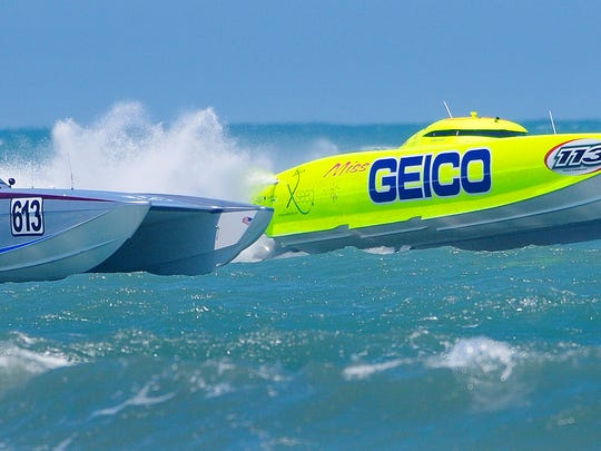 Powerful Unlimited Class superboat Miss Geico returns this year for the 10th annual Thunder on Cocoa Beach event.