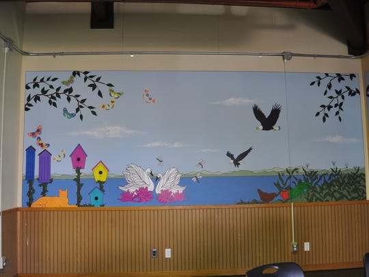 Before, during and after photos of the adolescent dining area at Carrier Clinic. The space was recently updated to include a mural by Changing Images Art Foundation to promote the healing benefits of art.