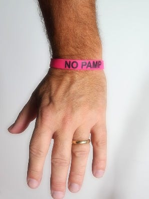This bracelet alerts doctors in an emergency that you don't want to be part of the plasma vs. whole blood clinical trial. It must be worn 24/7, in case you are in an accident and unable to communicate your wishes.