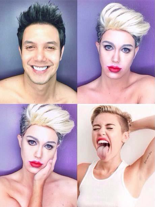 Makeup turns man into female celebrities look-a-likes.