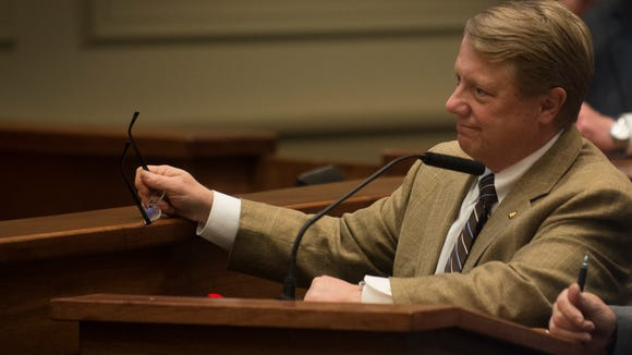 Dick Brewbaker, R-Elmore County, speaks during the 2016 Alabama legislative session on Tuesday, March 8, 2016, at the State House building in Montgomery, Ala.