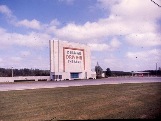 Pictured is the marquee at the Delmar Drive-In.