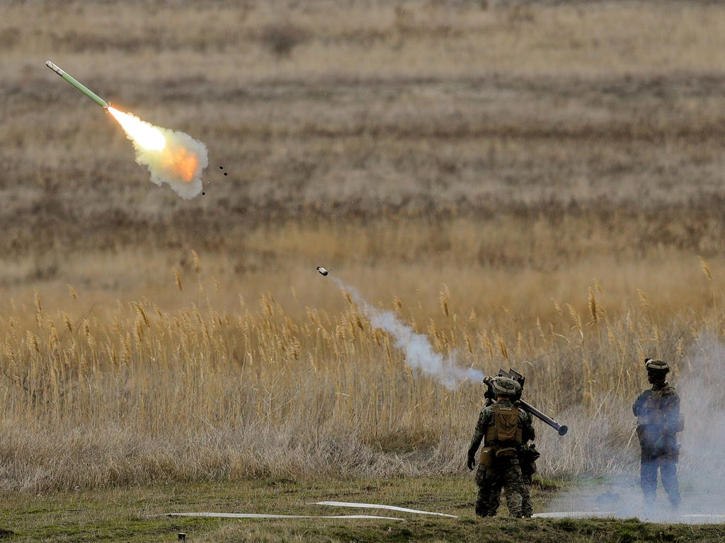 US Marines launch a Stinger missile at the Capu Midia Surface to Air Firing Range, on the Black Sea coast in Romania on March 20, 2017. About 1,200 US and Romanian troops take part in the Spring Storm 17 exercise, meant to simulate defense of the Rom