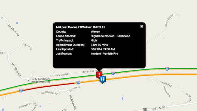 One lane is open on I-20 East in Warren County, near Bovina, following a fiery accident Thursday