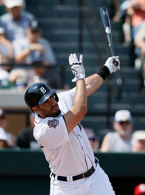 Detroit Tigers J.D. Martinez bats in the first inning of the exhibition opener against Florida Southern on Monday.