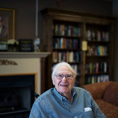 Sam Wiseman, 99, poses for a portrait Friday, March