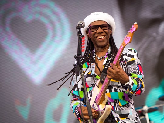 Nile Rodgers of Chic performs at Bonnaroo in Manchester, Tennessee, in 2018.  Rodgers and Chic headline the Tennessee Theatre in Knoxville later this month.