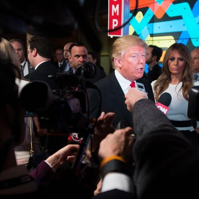 Republican presidential candidate Donald Trump is interviewed