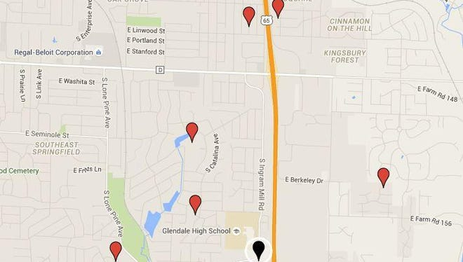 A Sept. 3 concert at PFI Western Store, represented on the map by the black pin, generated nine complaints to the city's citizen resource line. Six of the complainants provided general addresses, represented by the red pins.