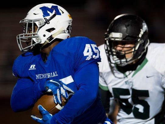 Memorial senior Keioni McGuire has scored three rushing touchdowns this season despite primarily playing defensive line.