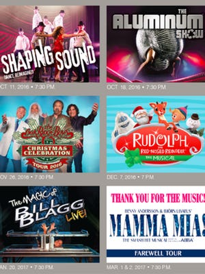 """The Pavilion Performance Series additions for 2016-17 features """"Shaping Sound,"""" """"The Aluminum Show,"""" """"The Oak  Ridge Boys Christmas Show,"""" """"Rudolph the Red-Nosed Reindeer: The Musical,"""" """"The Magic of Bill Blagg Live!"""" and """"MAMMA MIA!"""""""