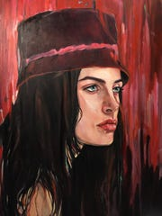 """Blue Eyes and Crimson Rain,"" is among the paintings by Jean-Paul Aboudib on display through March 30 at the Village Theater at Cherry Hill, in Canton."