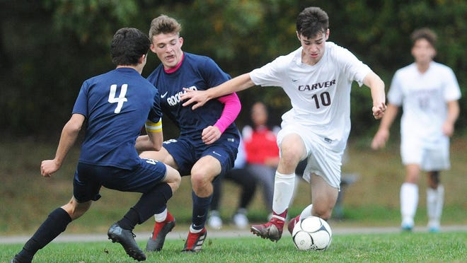 Carver's Michael Sawicki dribbles the ball during their game on Thursday, Oct. 3, 2019.