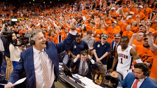 Auburn Tigers head coach Bruce Pearl celebrates after the NCAA basketball game on Wednesday, Feb. 21, 2018, in Auburn, Ala. Auburn Tigers defeated Alabama Crimson Tide 90-71.