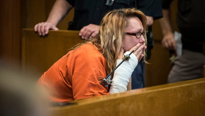Theresa Marie Gafken waits in the jury box inside Judge John Monaghan's courtroom before her motion hearing Tuesday, May 22, 2018. Gafken, 35, of Port Huron, is being charged with second-degree murder for the April 11 car crash that killed a 48-year-old Chesterfield woman.