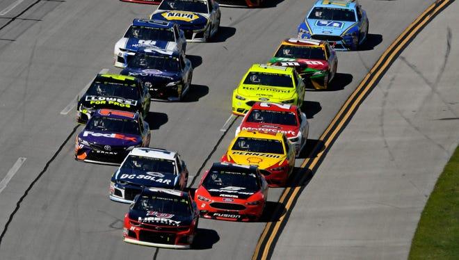 NASCAR Cup Series drivers race at Talladega Superspeedway on April 29.